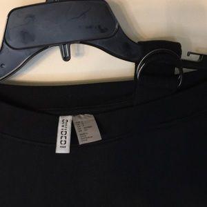 H&M Tops - H&M Divided Black One Shoulder Sweatshirt Sz S